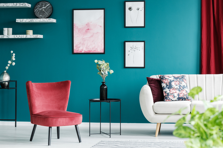 teal-wall-interior-design-living-room